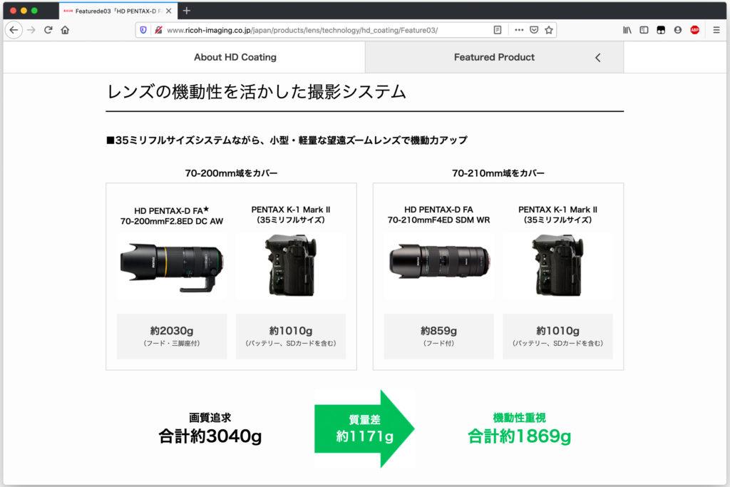 DFA★70-200mmF2.8とDFA70-210mmF4の重量差