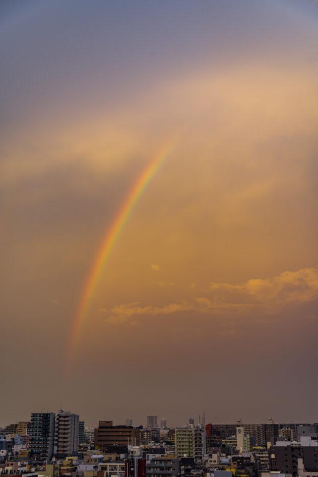 夕暮れ空に残る虹