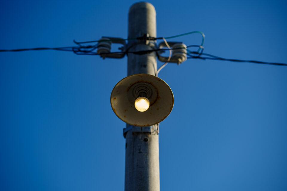 早くも点灯していた原岡桟橋のLED電球