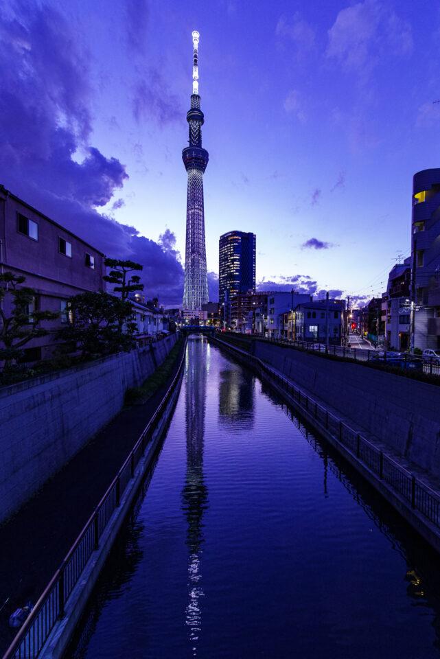 北十間川に映り込む東京スカイツリー