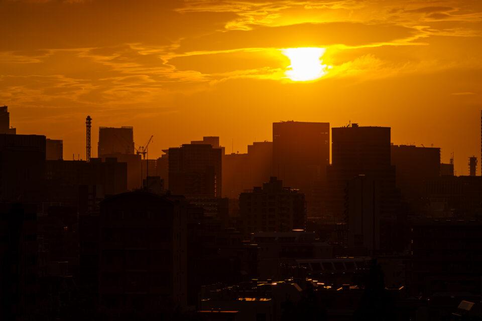 東京のビル街の日没