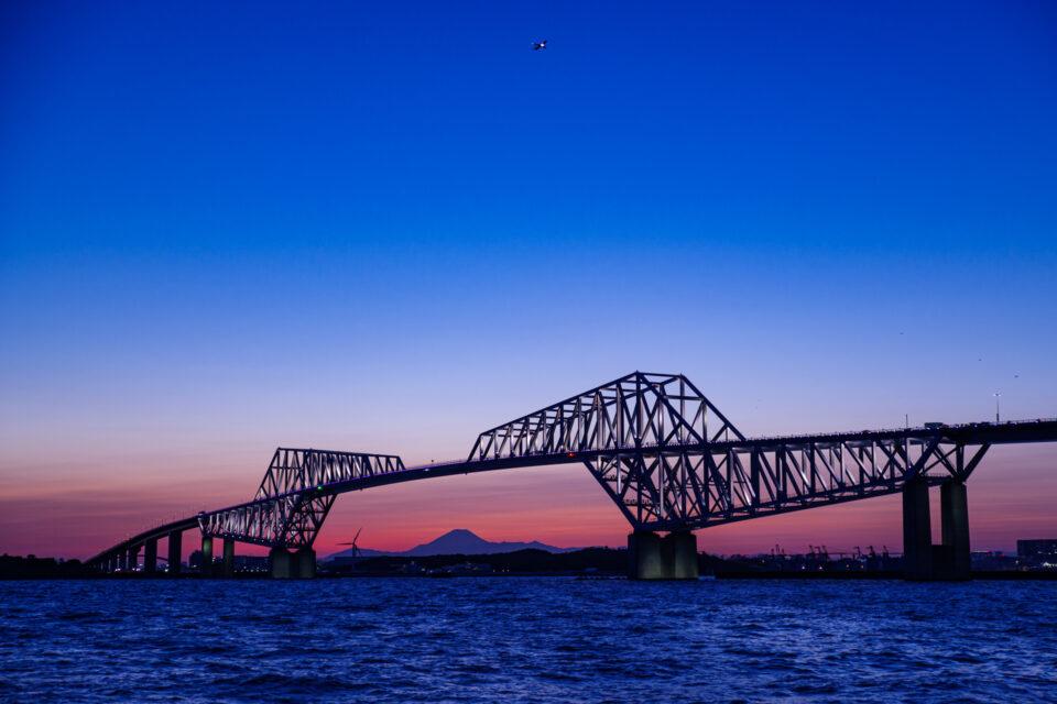 ライトアップされた東京ゲートブリッジと富士山