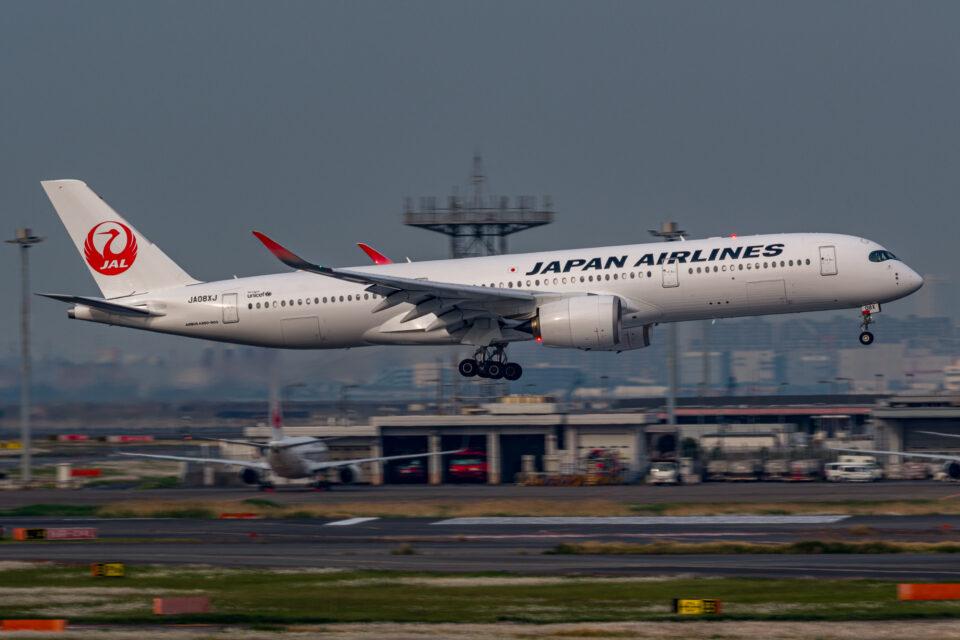 羽田の16Rに着陸するJAL A350-900