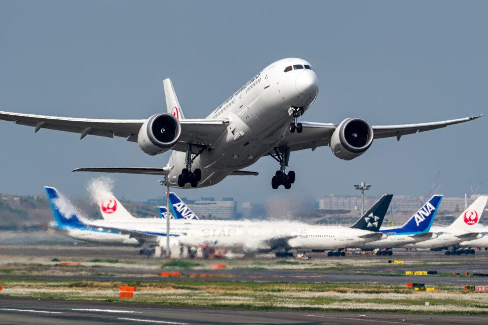 羽田空港の22から離陸するJAL B787-8