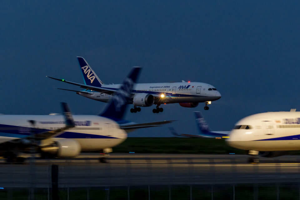 羽田の22に着陸するANA B787-8