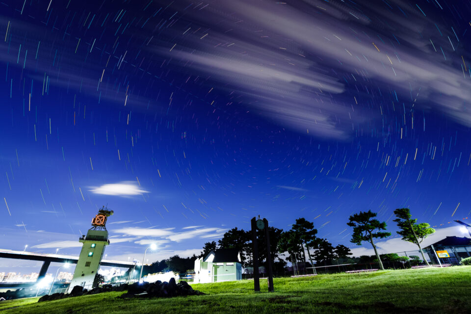 若洲海浜公園で星景インターバル合成(北)