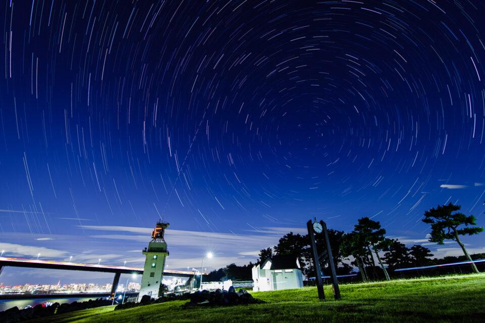 若洲海浜公園から星景インターバル合成(北)