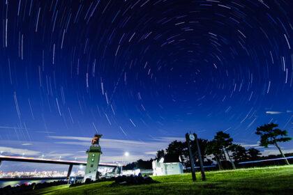 若洲海浜公園で星空インターバル合成
