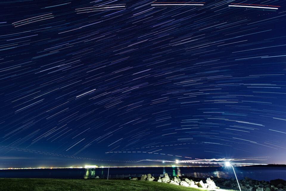若洲海浜公園から星景インターバル合成(南)