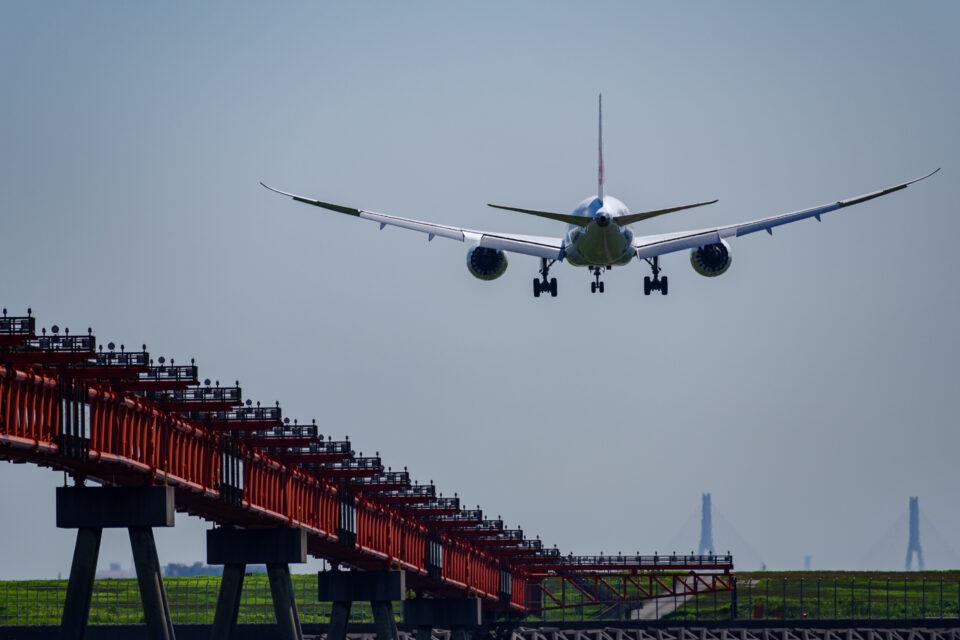 RJTT 22に着陸するJALのB787