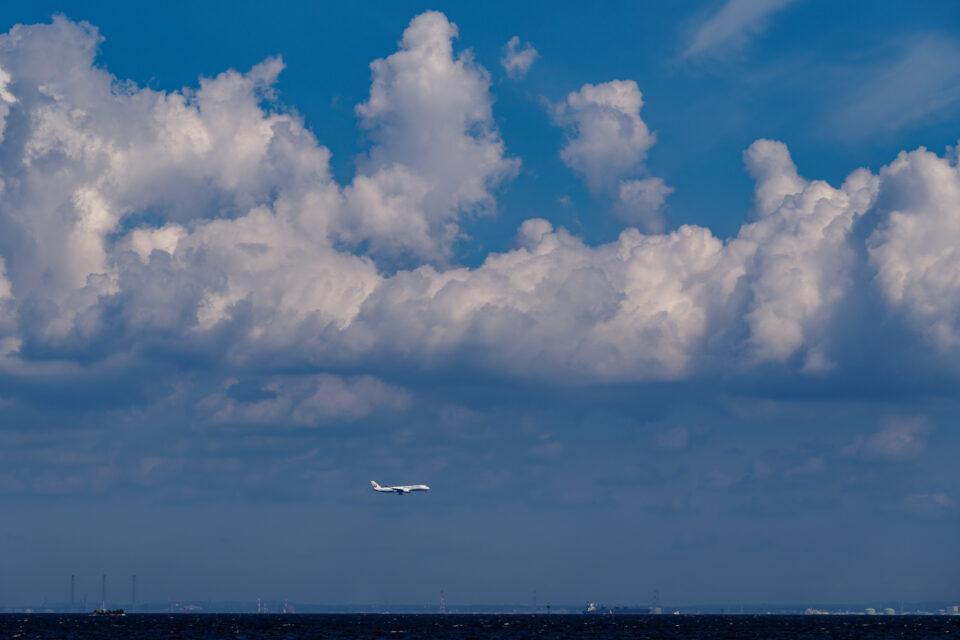 羽田のD滑走路に進入する飛行機と入道雲
