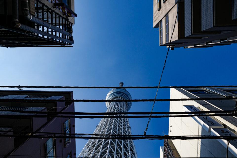 雑居ビルの隙間に覗く東京スカイツリー