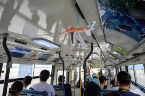 100番スポットまでのバス車内
