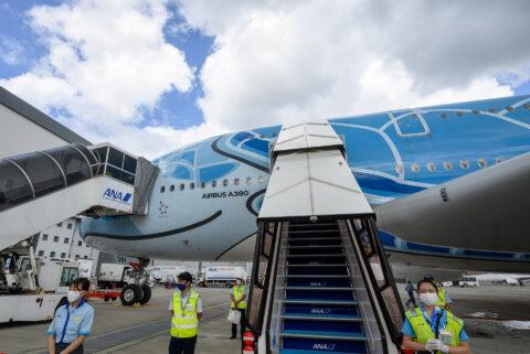 タラップを上ってA380機内へ