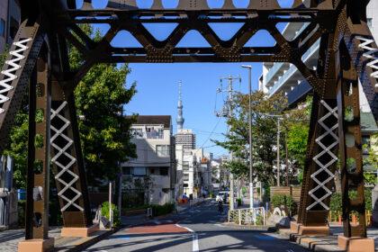 橋のトラスと東京スカイツリー